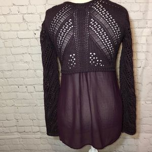 Dex Sweater with Sheer Back High Low
